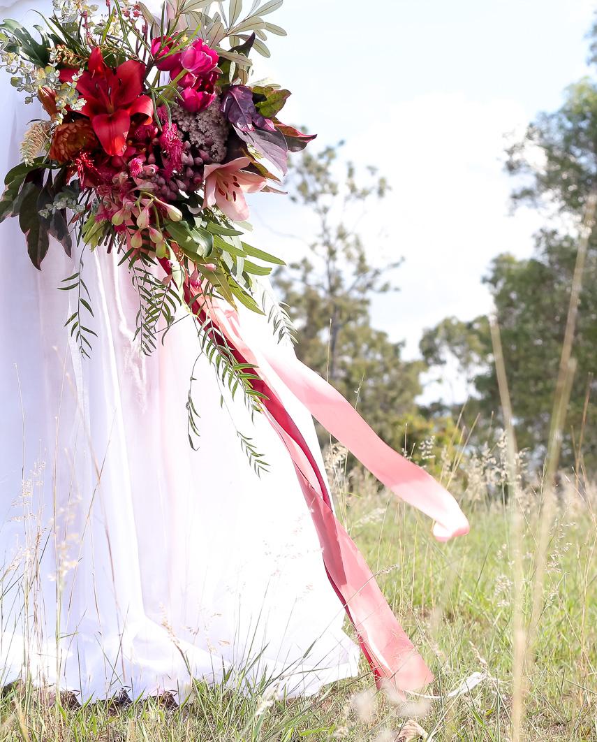 Rose ribbon bridal bouquet
