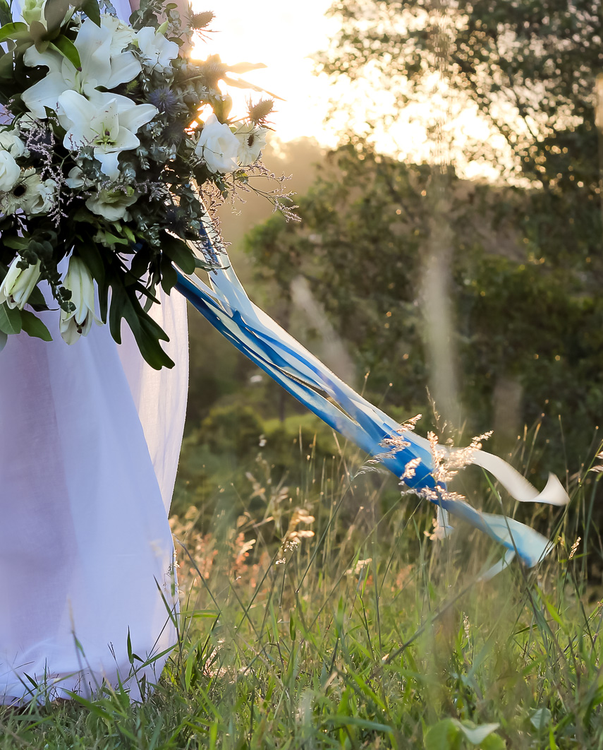 Sea Foam ribbon bridal bouquet