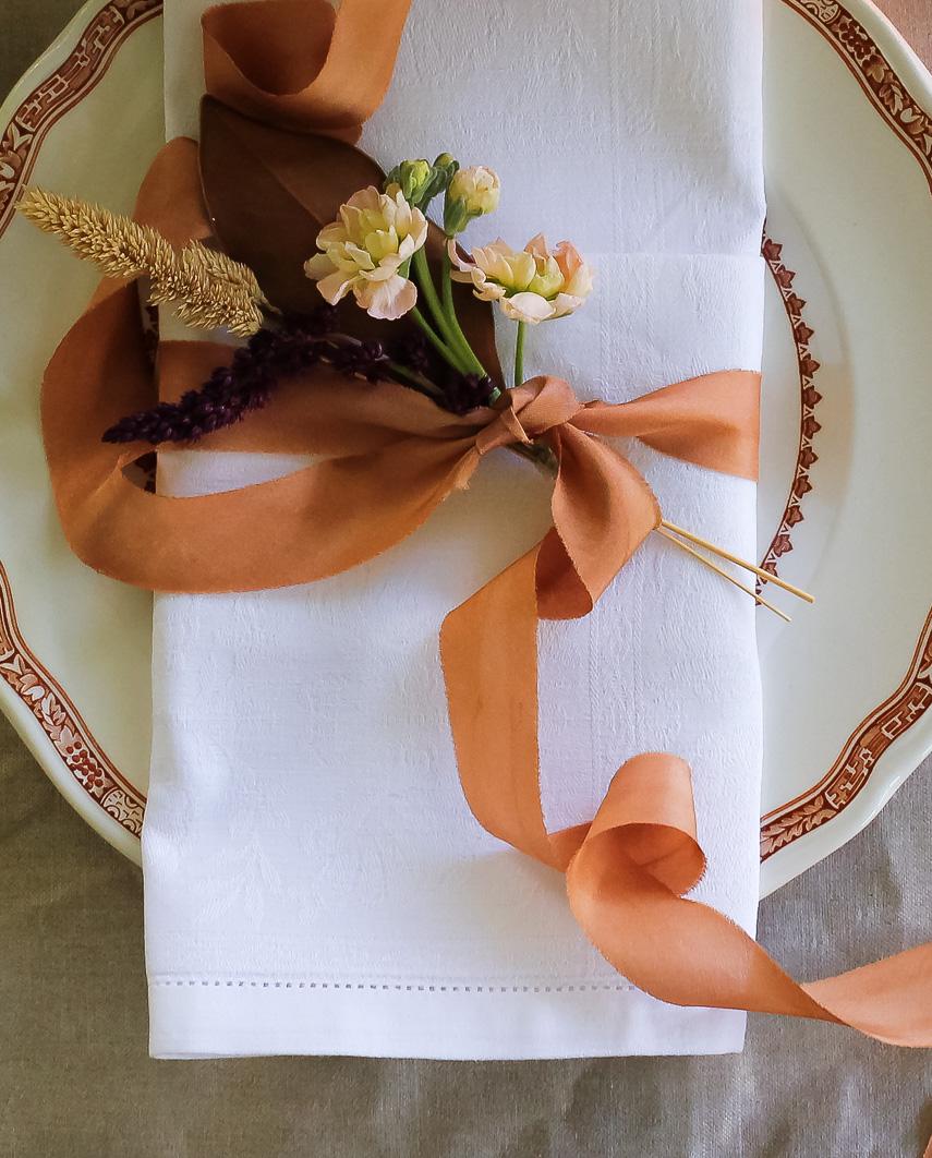 Cinnamon ribbon tied around napkin