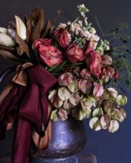 Merlot ribbon arrangement
