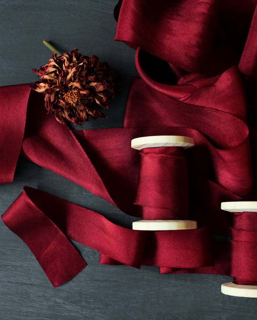 Merlot ribbon on spools