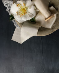 Ivory ribbon and camellia